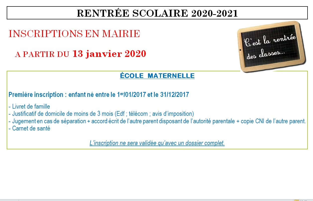 inscription école 2020